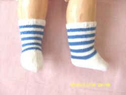Antique Pattern White/blue Cotton Socks For Antique French German Doll
