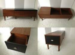 ❉ New Assembled Mid Century Modern Style Storage Bench Chair Drawer Hall Mudroom