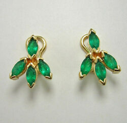 Colombian Emerald Flower Earrings Marquise Shape 1.75 Cts 18k Y Gold French Clip