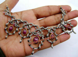 New Antique Rose Cut Diamond 4.88ct Silver Victorian Ruby Wedding Style Necklace
