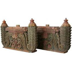 Pair Antique South Indian Painted Teak Architectural Carvings 19th Century