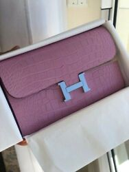 HERMES Constance Long Wallet in Matte 5P Pink Crocodile - Brand New