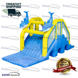 20x10ft Commercial Inflatable Dolphin Floating Slide For Pool With Air Pump
