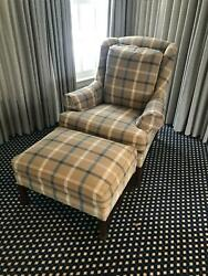 Hickory Chair Co. Chippendale Style Wing Chair And Ottoman Tartan Plaid