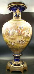 French Sevres Style Porcelain Cobalt Urn Hand Painted Steeplechase Horses