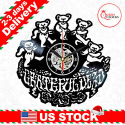 Grateful Dead Logo Bears Vinyl Record Wall Clock Art Room Decor Christmas Gifts