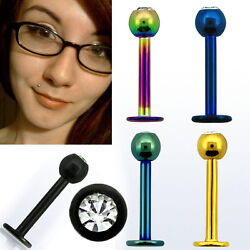 1-5pc 16g Anodized Colored Steel Monroe Labret Helix Studs W/ 3mm Cz Crystals Us