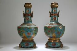 A Pair of Chinese Duo-handled Cloisonne Massive Vases