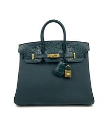 New Hermes Birkin Touch 25 Vert Cypress Togo Matte Alligator Crocodile Gold Hwr