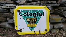 Colonial Ethyl Gasoline Corporation Rare Double Sided Gas And Oil Porcelain Sign