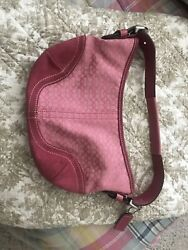 Coach Hot Pink Suede And Monogram Small Hobo Shoulder Bag