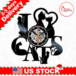 I Love Cats Vinyl Record Wall Clock Black Vintage Home Decor Christmas Gift Idea