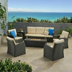 Roswell Outdoor 7 Seater Wicker Chat Set With An Iron Fire Pit