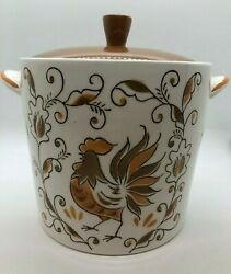 Lefton Rooster Pattern Cookie Jar Mid 50and039s Very Rare Orig Sticker