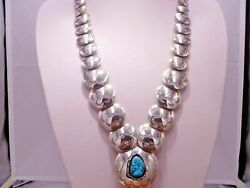 Reversible Turquoise Deer Pillow Graduated Beads Concho Necklace Native Sterling