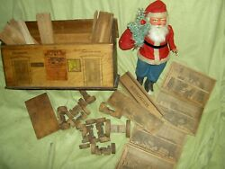 Rare Antique Wood Milton Bradley Railway Station And Reindeer Circus Building Toy