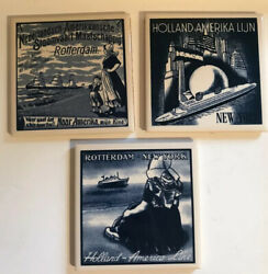 Holland America Lines 4 Tiles Dutch Cruise Line Travel Coasters Set Of 3 298