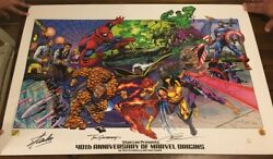 Rare Stan Lee Autographed Df Litho 40th Anniversary Of Marvel Origins 1 Of 99