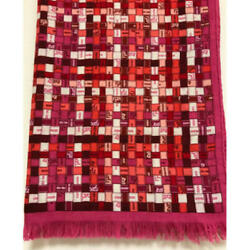 Hermes Stole Scarf Bolduc Check Pink Red Ribbon Cashmere Silk Auth Mint 72x25 in
