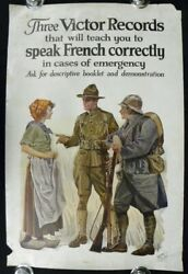Original Wwi 38 Poster Victor Records Speak French Correctly 3998-rjeq 1917