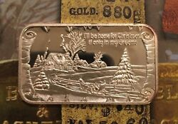 Greathouse I'll Be Home For Christmas 999 Silver Art Bar 1 Troy Oz Trg-5