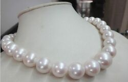 Huge 1812-16mm Natural South Sea Genuine White Pearl Necklace Round Aa