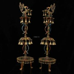 Pair 34and039and039 Tibet Bronze Silver Turquoise Coral Gem Phoenix Oil Lamp Candlestick