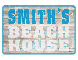 PERSONALIZED BEACH HOUSE SIGN *YOUR NAME* QUALITY ALUMINUM HI GLOSS COLOR #BH629 $13.95