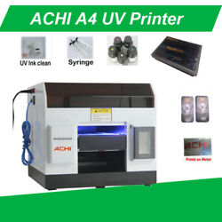 Achi A4 Uv Printer 6 Color For Metal Flat 3d Embossed And T-shirt Table