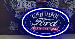 GENUINE FORD MOTOR PARTS & SERVICE NEON SIGNN FORD CAR TRUCK SALES DEALER SHOP