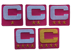 2021 Captain C Patch Hot Pink W/ Gold Stars For Football Jersey Hoodie Shirt