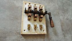 Antique Knife Switch Electrical Panel Industrial Knife Machine Age Marble Copper