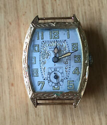 Antique 18k Gold Watch Case And Movement For Repair/or Parts