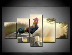 Multi Panel Print Cock Rooster Canvas 5 Piece Picture Wall Art Farm Chicken Dawn