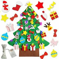 TURNMEON 3.4 Ft Felt DIY Christmas Tree Decorations with 10Ft Colorful LED
