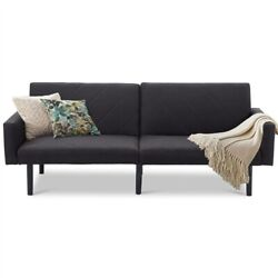 Style Futon Sofa Bed With Black Linen Upholstery