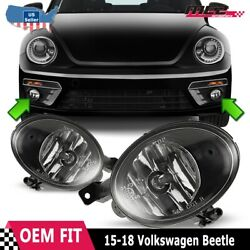 Fits 15-18 Vw Beetle Clear Lens Pair Oe Bumper Replacement Fog Light Lamps Dot
