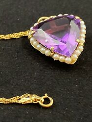 Large Vintage 23ctw Genuine Heart Amethyst Pendent w Cultured Seed Pearls 14K