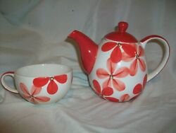 Huesnbrews Tea Pot And Cup Red Flowers Floral White