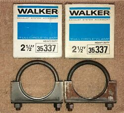 Nos Walker 35337, 2 1/2 Heavy Duty Full Circle Exhaust Clamp. Lot Of 2.