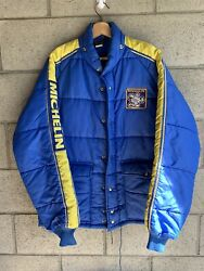 VINTAGE 70s MICHELIN TIRES RACING PUFFER DOWN JACKET SIZE LARGE