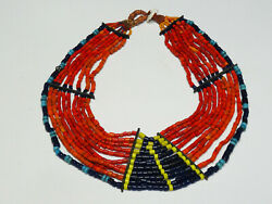 Massive Authentic Konyak Wakching Nagaland Coral And Glass Bead Collar Necklace