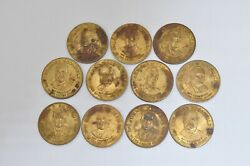 Lot Of 11 Vintage President Facts Bio Coin Tokens Kennedy Lincolns Eisenhowe Etc