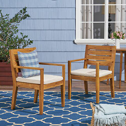 Eric Outdoor Acacia Wood Dining Chairs