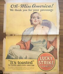 1932 Lucky Strike Cigarette Ad Art Deco Makeup Ad Pinup Nbc Miss America