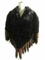 Reverse Hair Mink x Sable with Bunch Honfur Large Format Shawl Poncho