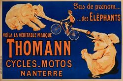 Original Vintage Poster - Cycles Motorcycles Thomann - Elephant - Bicycle - 1926