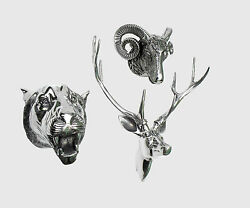 Wall Mounted Metal Stag Head With Lion And Ram Head Deer Antelope