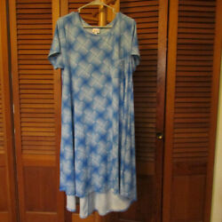 LuLaRoe Large Carly Blue Geometric Design - Only Worn Once in Perfect Condition