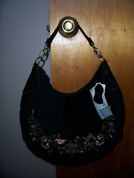 HUSH PUPPIES BLACK SUEDE LEATHER EMBROIDERED PURSE HANDBAG NWT $34.99
